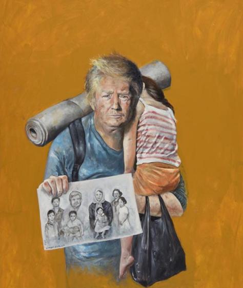 Donal Trump réfugié - dessin de Abdalla Al Omari